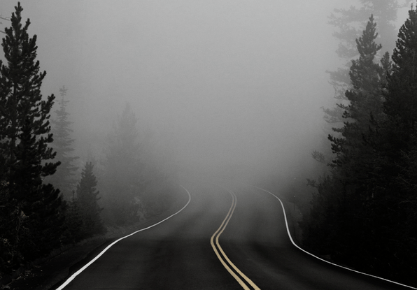 Image of fog on a highway. ClearWay automatically detects incidents even in thick fog.